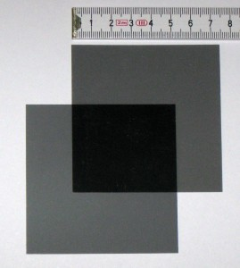 Polarized film, 75mm x 75mm x 0.28mm, non-adhesive